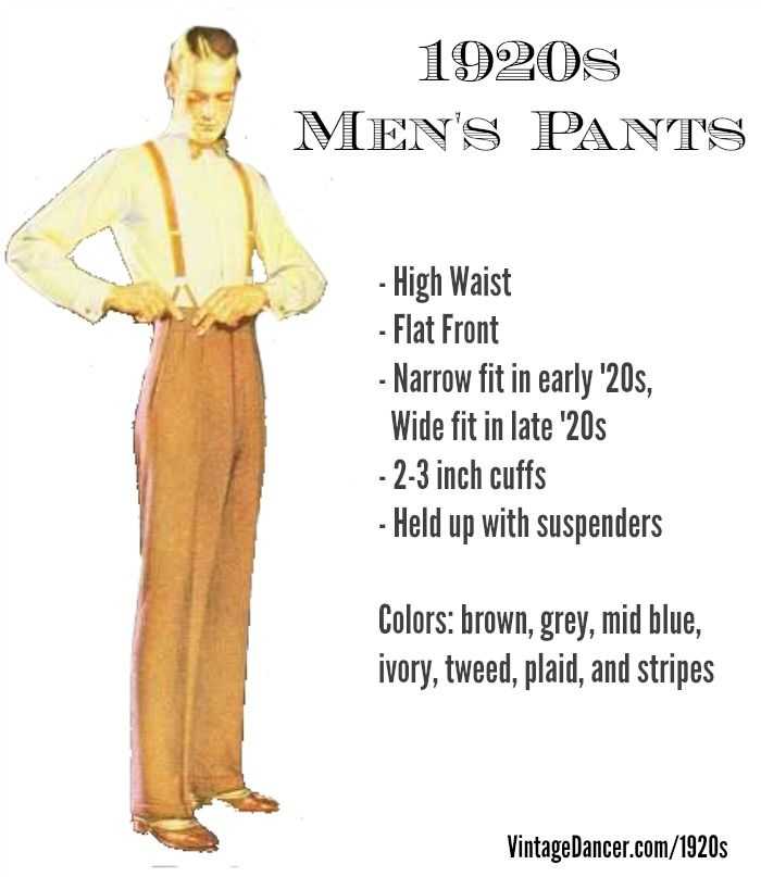 1920s Men's Pants Guide at VintageDaner.com Shop new pants and trousers in vintage colors, patterns and cuts