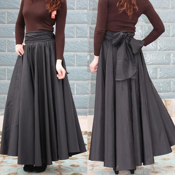 """Brand Name: wbctw   Gender: Women Waistline: Empire Decoration: Bow Pattern Type: Solid Style: """"European and American Style Material: Acetate,Cotton,Lanon Dresses Length: Floor-Length Silhouette: Pleated Model Number: WB-SK-008-3  Free Shipping In The USA Estimated Delivery Time To The USA:12-20days"""