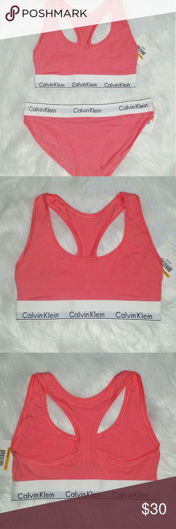 Calvin Klein Sleepwear set // bralette & panties Coral pink  Calvin Klein bralette + panties Cotton  Set [NWT] Calvin Klein Intimates & Sleepwear Bras