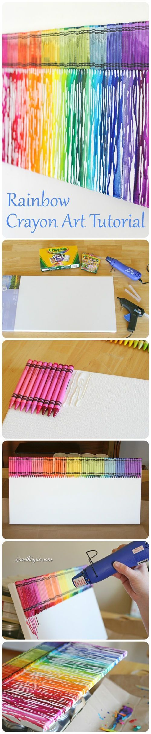 Crayon Melt Art. I think this would look good over my student supply table. I wonder if I could use stickers to spell 'student supplies' and then peel them off when I am done?