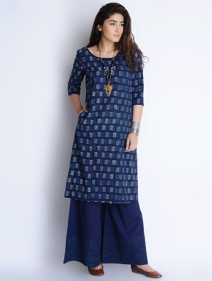 Buy Indigo Ivory Natural Bagru Printed Cotton Kurta by Jaypore Apparel Tunics & Kurtas Online at Jaypore.com