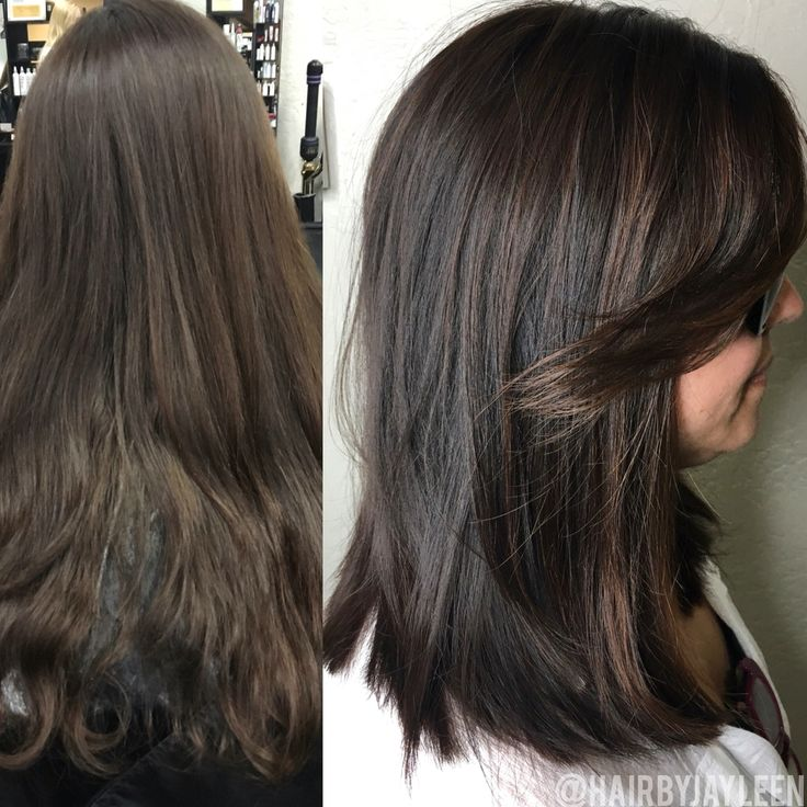 Balayage dark hair, lob haircut, dark brown hair