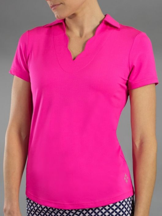 Fluorescent Pink JoFit Ladies & Plus Size Scallop Short Sleeve Golf Polo Shirt! More outfits at #lorisgolfshoppe