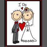 A Stick Figure Bride And Groom Say I Do On Wedding Postage Stamps That