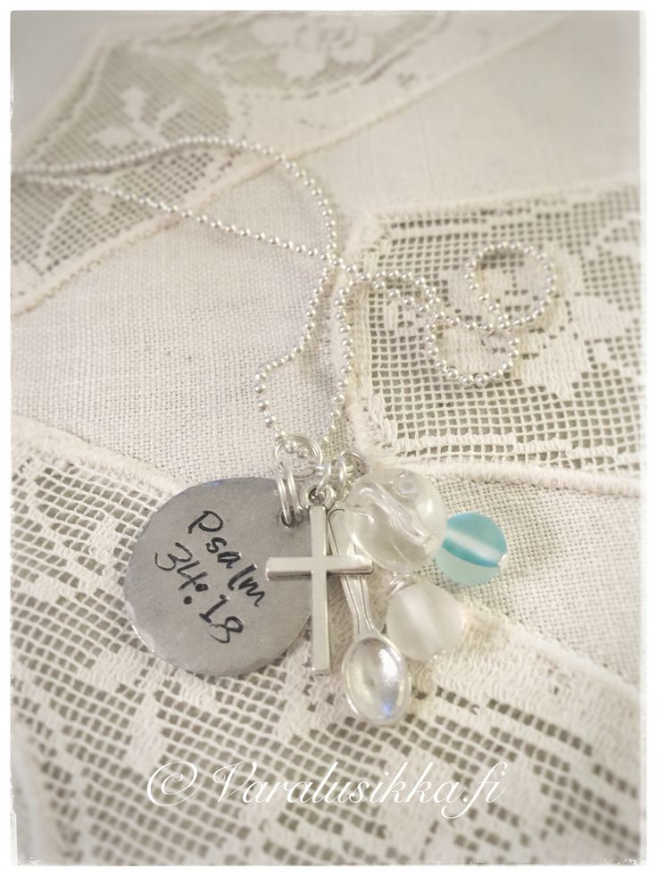 Hand made and hand stamped spoon necklace with text Psalm 34:18; The LORD is close to the brokenhearted... www.varalusikka.fi