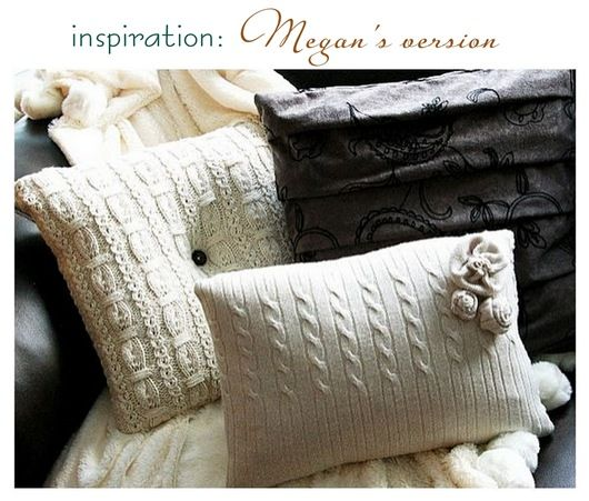 what a great idea -- sweater pillows made from goodwill/old sweaters