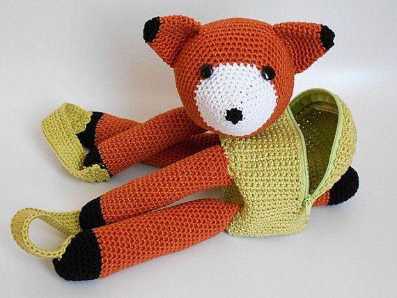 Crochet pattern for bear and fox backpacks. Cute by chabepatterns