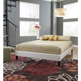 Sleep Sync Darlington Upholstered White Leather Complete Platform Bed | Overstock.com Shopping - The Best Deals on Beds