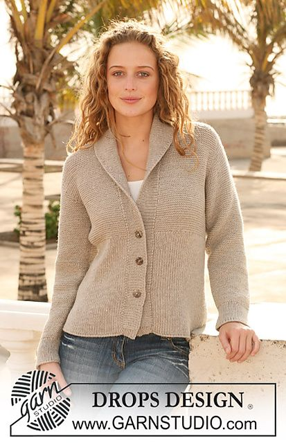 """FREE Ravelry: 112-40 Knitted Jacket with rib in """"Merino Extra Fine"""" pattern by DROPS design"""