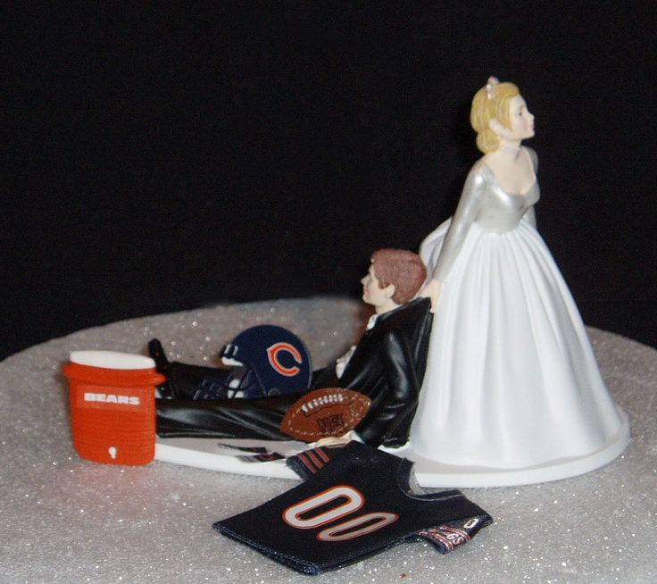 Chicago Bears Wedding Cake Topper Bride Groom Jersey By Finsnhorns
