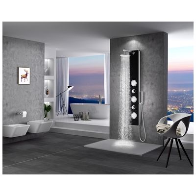 Anzzi SP AZ045 LLANO Series 60 In. Full Body Shower Panel System With Heavy  Rain Shower And Spray Wand In Black