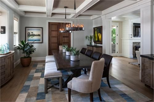 Cozy Transitional Dining Room the relaxing tones of blues, brown and tan in the area rug are mimicked in the furnishings, wall color and art accents of the room. Making for polished and relaxed gathering space.