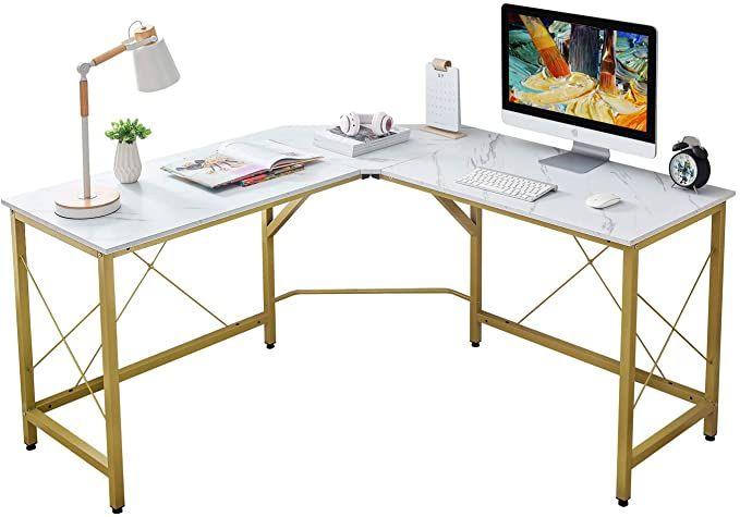Mr Ironstone L Shaped Desk 59 Computer Corner Desk Home Gaming Desk Office Writing Workstation Space Sav In 2020 L Shaped Desk White Corner Desk Marble Office Desk