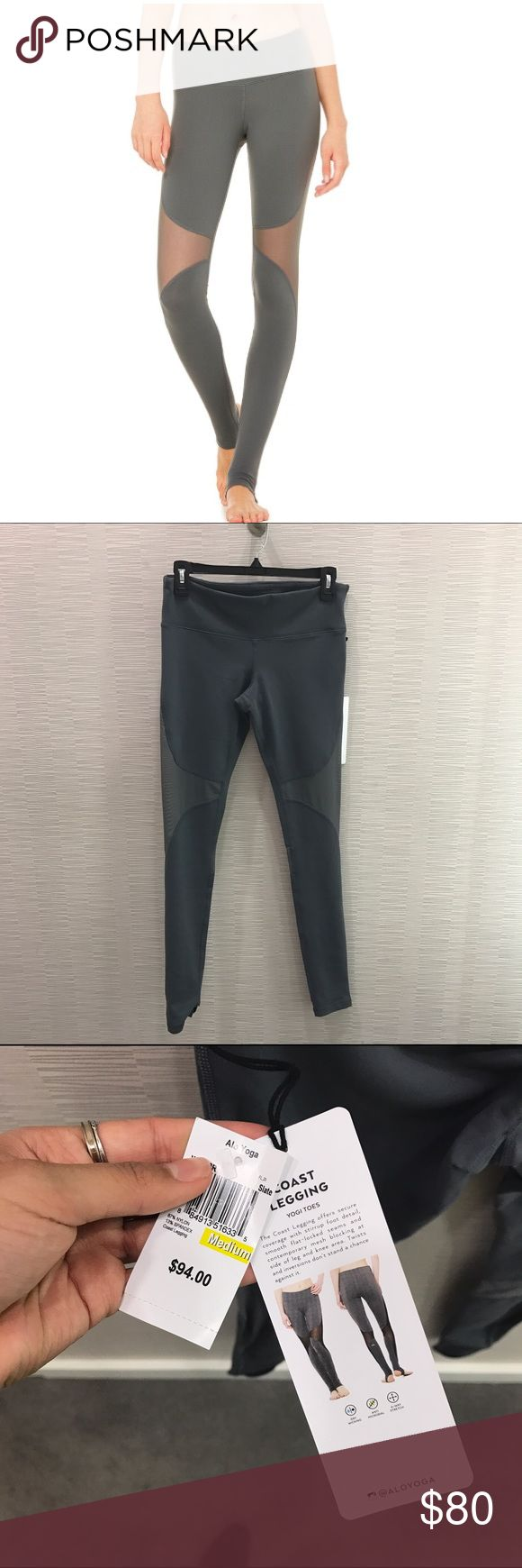 Alo Yoga Coast Legging in Slate A stunning piece from Alo Yoga! With mesh cutouts in a grey color. It fits super snug and very flattering! ALO Yoga Pants Track Pants & Joggers
