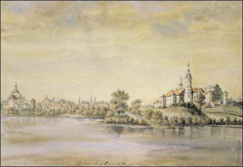 . Nieśwież (Białoruś). Zamek Radziwiłłów i fara. Rys. 1876