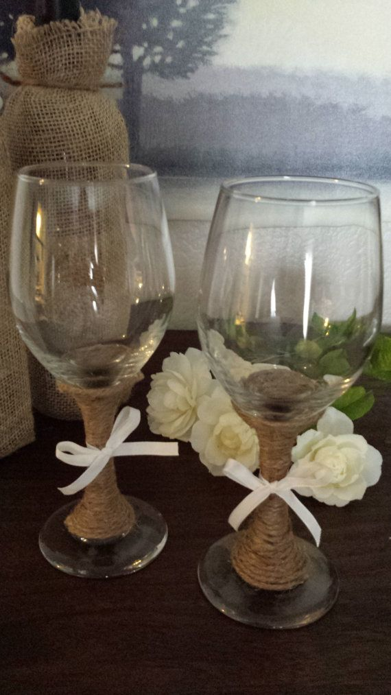 Set of wine glasses decorated with twine perfect for a for Wine glass decorations for weddings
