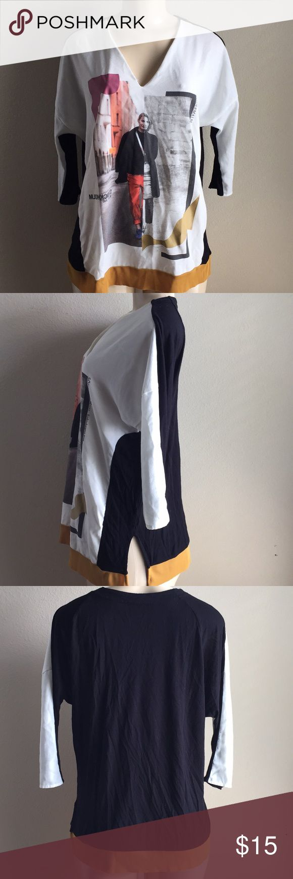 ZARA Stockholm Abstract Print Shirt White, black and gold color block fashion print shirt. V-neckline. Side slots. 3/4 Sleeve. No stains. Neckline has a minor unnoticeable tear. Zara Tops Blouses