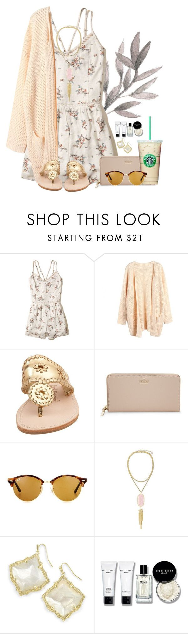 """""""Pastel OOTD"""" by annaewakefield ❤ liked on Polyvore featuring Hollister Co., Jack Rogers, Kate Spade, Ray-Ban, Kendra Scott and Bobbi Brown Cosmetics"""