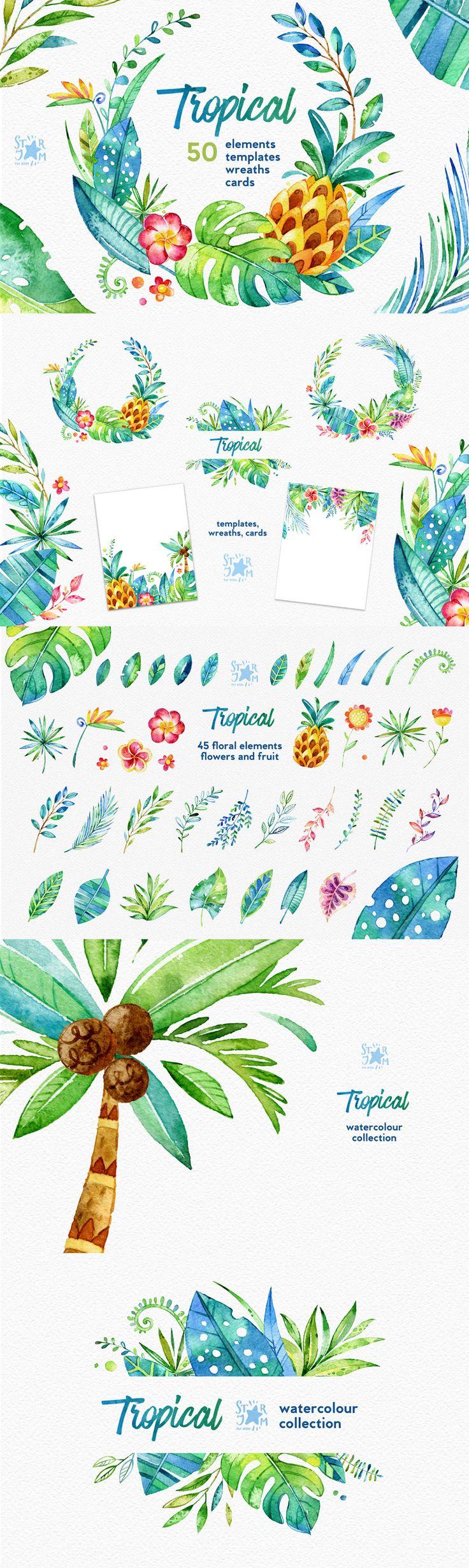 The Ultimate Artistic Design Bundle #DesignCuts #tropical #element #wreath…