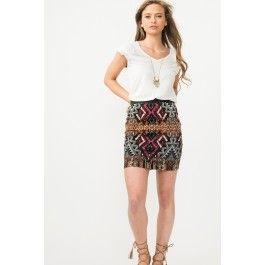 Mini jupe à imprimé aztèque