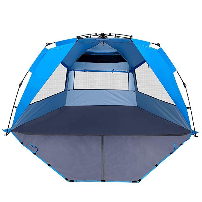 Enkeeo Pop Up Beach Tent Automatic Easy Set Up Family Tent Instant Sun Shelter With Upf 50 Plus Sun Protection Full Privacy Door Sitting Mat And Carry Bag With Images