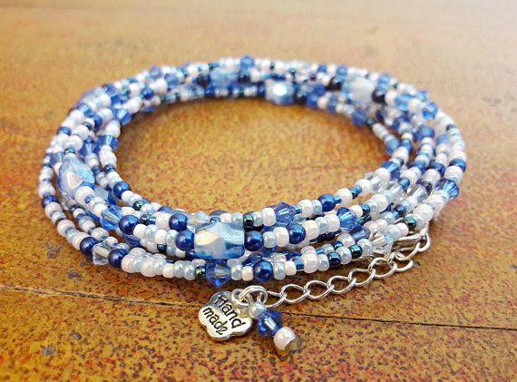 Bracciale azzurro blu e rosa // Bracciale lungo con perle perline cristalli // idea regalo per lei // Bracciale avvolgente donna