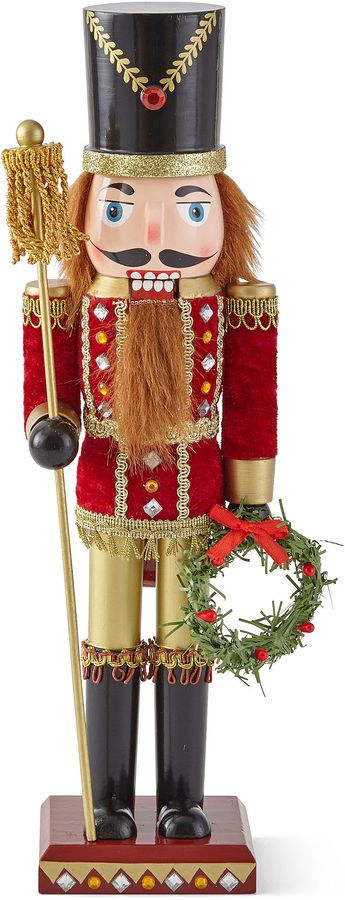 North Pole Trading Co. Soldier Nutcracker with Wreath