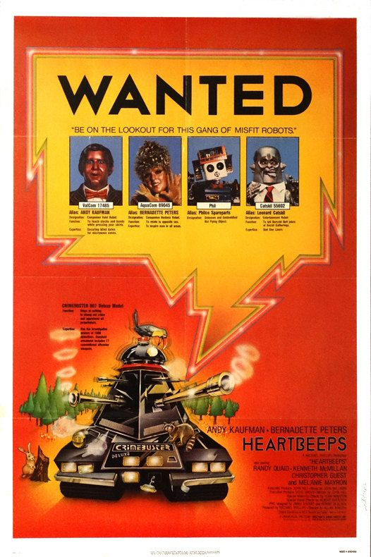 "Heartbeeps.Original 1981 US 27""x41"" Theater Movie Poster.FREE SHIPPING. Sci-fi Robot Romance.Bernadette Peters,Randy Quaid,Christopher Guest by ArtisticSoulStudio on Etsy"