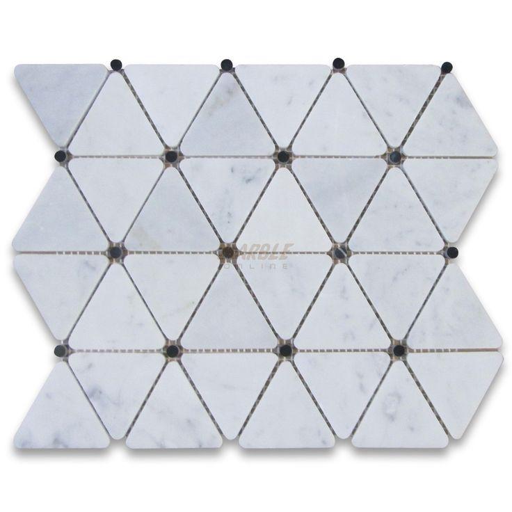 Carrara White 2 3/4 inch Triangle Mosaic Tile w/ Black ...