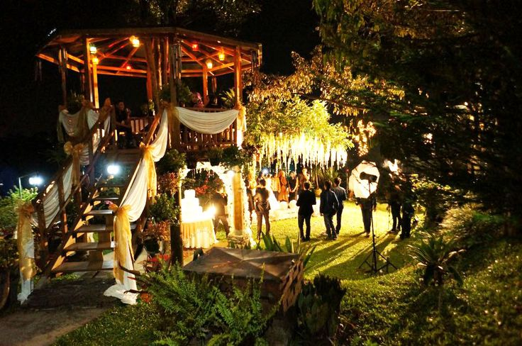 Night Wedding party , Garden party, with a gorgeous decoration + Treehouse. What more can you ask? :)  @ Rumah Kebon Cengkeh Bandung, Indonesia