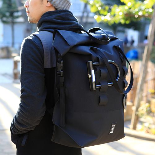 *CHROME* excursion rolltop backpack (black)
