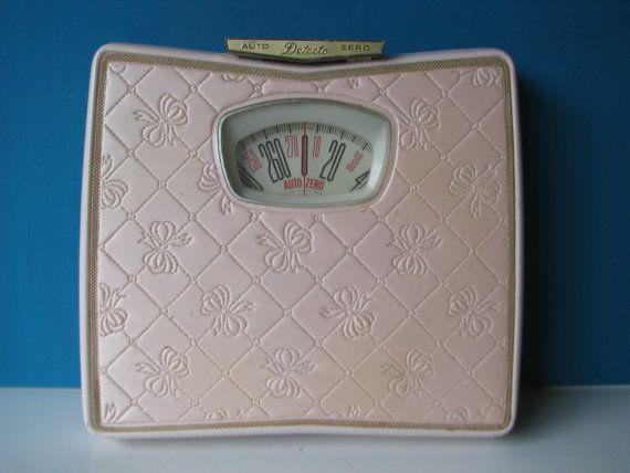 Vintage Detecto Pink Gold Bathroom Scale Auto Zero 1950's