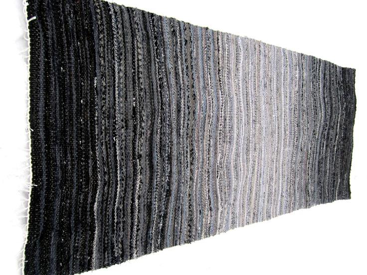 guna mikelsone - grey rock:  hand-woven recycled rag rug