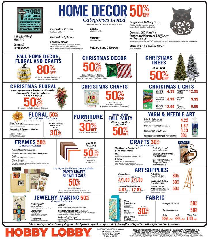 Hobby Lobby Weekly Ad November 20 - 23, 2016 - http://www.olcatalog.com/grocery/hobby-lobby-weekly-ad.html