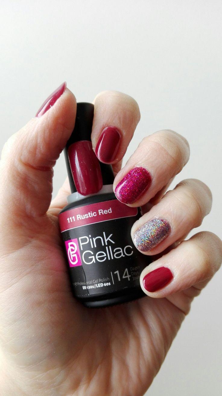 Pink Gellac - rustic red, met nail art van holografische glitters.