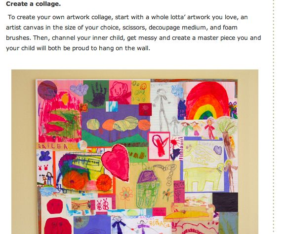 collage / decopauge onto canvas an assortment of your child's artwork each year