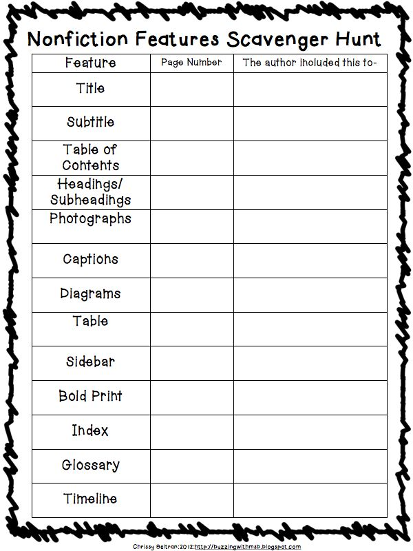 Nonfiction Text Features Scavenger Hunt - Free! Some of the kiddos could do this...