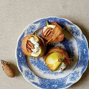 Bacon-Wrapped Figs with goat cheese and pecans.... adore fig season! <3