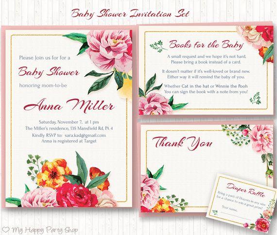 floral baby shower invitation set roses baby shower spring printable digital