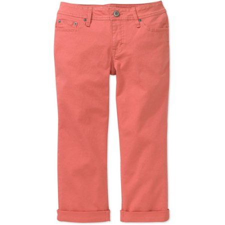 Faded Glory - Women's Cuffed Capri Jeans, Orange