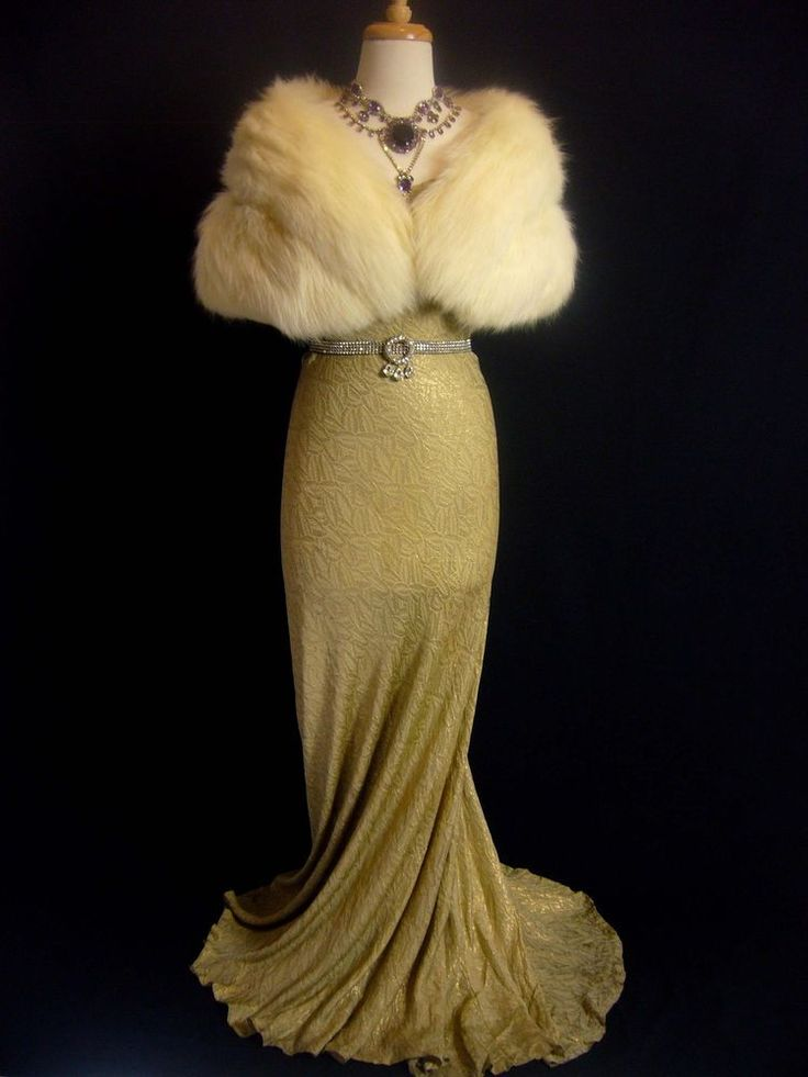 DRAMATIC Gold Silk Lame DECO Fishtail Plunge Back 1930s Bias Evening Gown Dress
