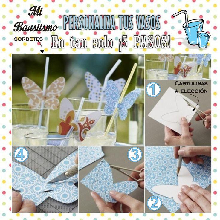Personaliza los vasos para la fiesta. #ropa #fiestas #bautismo #tutoriales #mujeres #chicas #cortejo #moda #decoración #DIY #souvenirs #reciclaje #adornos #vasos #copas #bebes #manualidad