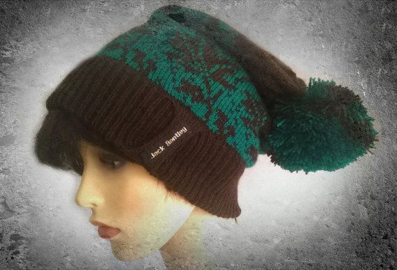 Slouchy Beanie Hat with pom pom womens hat slouch winter beanie bobble hat green hat beanie with pom pom slouchie beanie hats beanies (40.00 GBP) by JackBentleyKnitwear