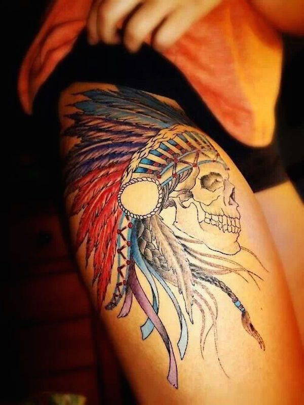 Skull with headdress - I'm seeing that we get a lot of skulls and headdresses on these sexiest thigh tattoos. #TattooModels #tattoo
