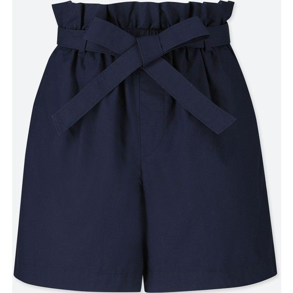 UNIQLO Women's Belted Shorts (97 PEN) ❤ liked on Polyvore featuring shorts, navy, cotton shorts, uniqlo, navy shorts, uniqlo shorts and slim fit shorts