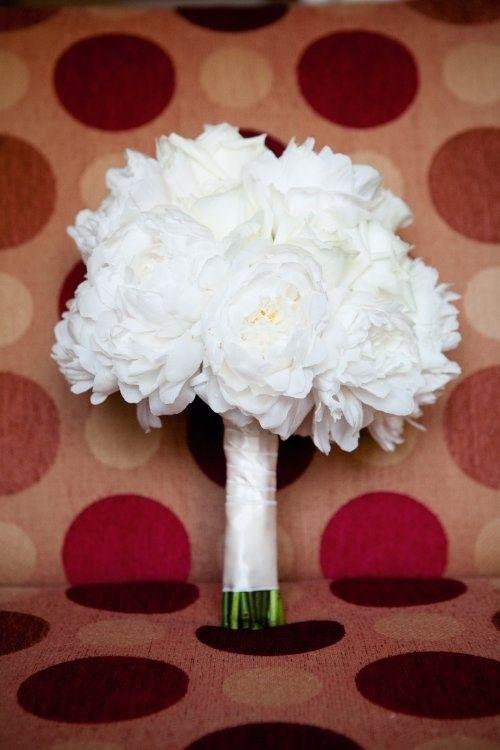 White Peony Bridal Boquet Tied with White Satin for Erins Wedding