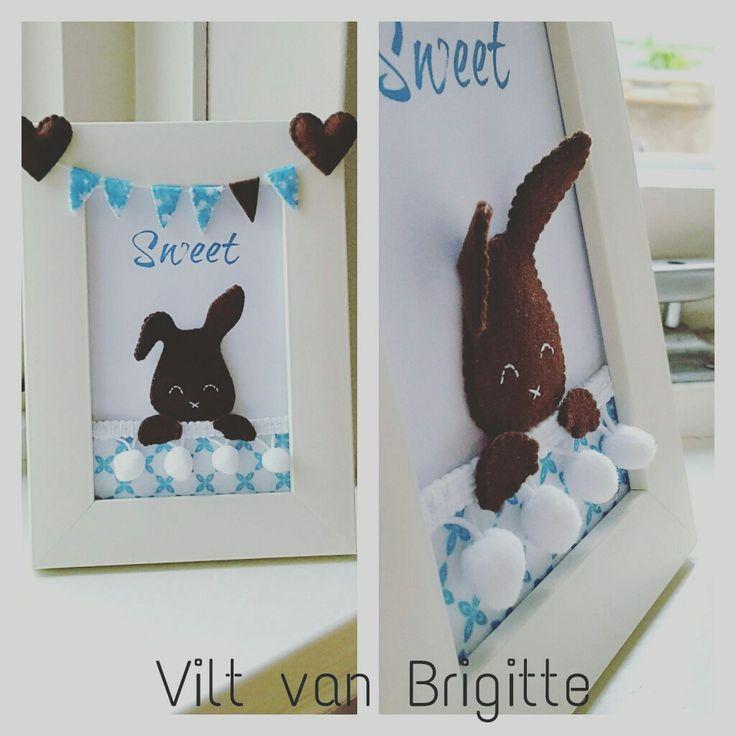 Sweet ❤ vilten konijntje in lijstje.