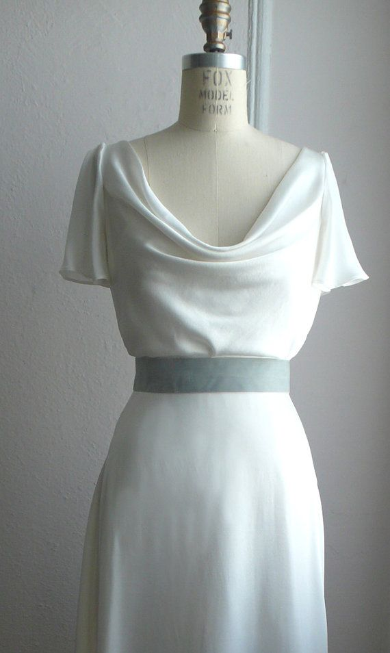 Cowl neck A line Gown with Flutter Sleeve, 1930's Inspired Bridal Gown, Silk Charmeuse, Customizable