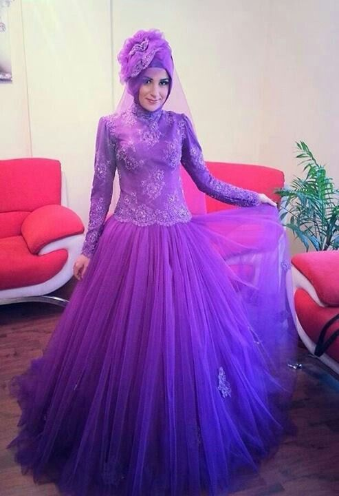 Purple tulle gown