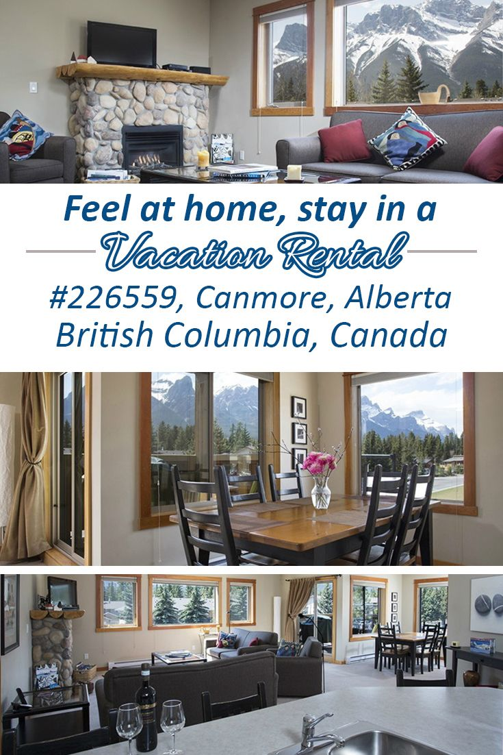 This Canmore vacation rental is a corner unit and has a view of 50 miles of spectacular peaks from Cascade Peak and Mount Rundell in Banff past the majestic Three Sisters in Canmore, British Columbia. Every room has stunning views!